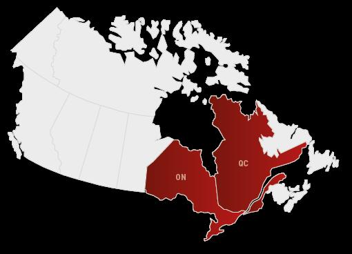 Normandin Transit | Carte du Canada segmentée par régions de livraison