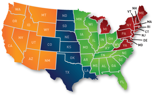 Normandin Transit | Carte des États-Unis segmentée par région avec code de couleurs